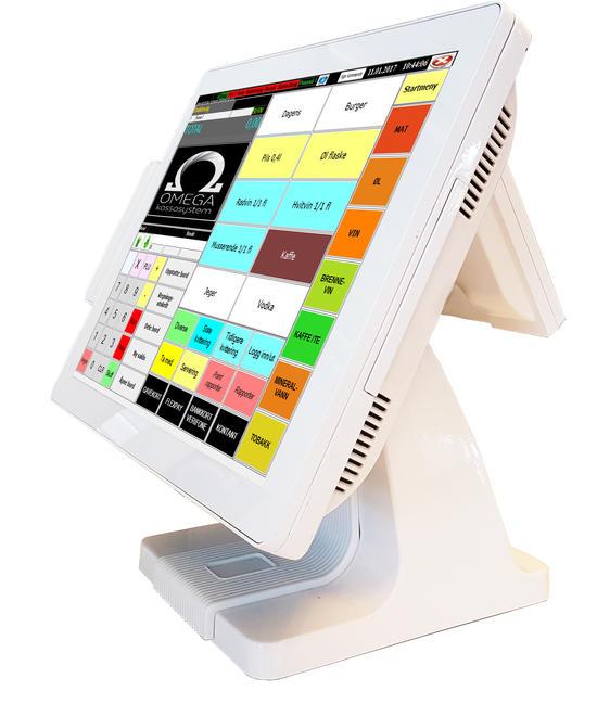 Omega Style PC-kasse med touch-skjerm. Lekkert design.