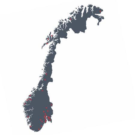 Kart over forhandlere som selger kassaapparat i blant annet Bergen, Trondheim, Stavanger, Arendal, Kristiansund, Narvik, Oslo, Drammen, Gjøvik og Trysil