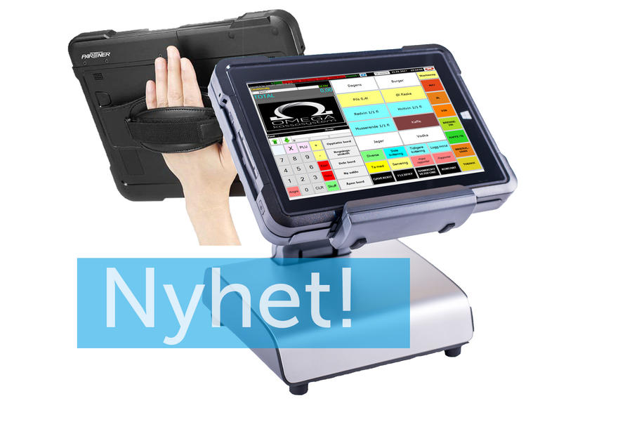 Nytt kassaapparat med en pad/nettbrett, som man kan ta med seg rundt og docking for fast kassapunkt